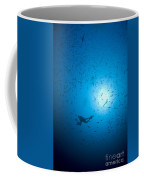 Diver And School Of Fish In Blue Water Coffee Mug