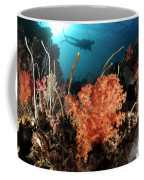 Diver Explores A Coral Reef Coffee Mug