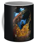Diver Explores The Liberty Wreck, Bali Coffee Mug