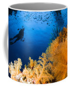 Diver Hovering Over Soft Coral Reef Coffee Mug