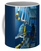 Diver Observes A Male Great White Shark Coffee Mug