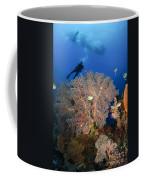 Diver Swims Over Sea Fans, Indonesia Coffee Mug