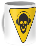Dj Skull On Hazard Triangle Coffee Mug by Pixel Chimp