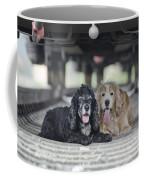 Dogs Lying Under A Train Wagon Coffee Mug