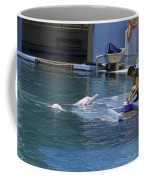 Dolphin And Trainer At The Underwater World In Sentosa In Singap Coffee Mug