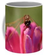Dragonfly On Pink Flower Coffee Mug