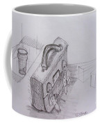 Drawing Class. Leather Satchel And Glass Coffee Mug