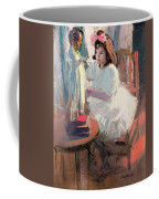 Dressing Her Doll Coffee Mug by Claudio Castelucho