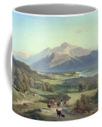 Drover On Horseback With His Cattle In A Mountainous Landscape With Schloss Anif Salzburg And Beyond Coffee Mug