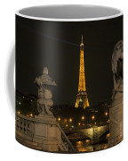 Eiffel Tower And The Seine River From Pont Alexandre At Night Coffee Mug