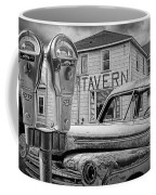 Expired A Black And White Photograph Of A Tavern Parking Meters And Vintage Junk Auto Coffee Mug