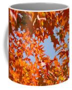 Fall Leaves Art Prints Autumn Red Orange Leaves Blue Sky Coffee Mug
