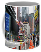 Amidst Color And Construction In Times Square Coffee Mug