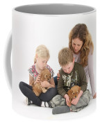 Family With Cockerpoo Pups Coffee Mug