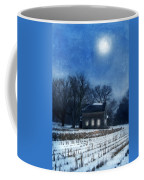 Farmhouse Under Full Moon In Winter Coffee Mug
