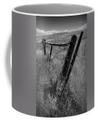 Fence Posts And Barbed Wire At The Edge Of A Field In Montana Coffee Mug