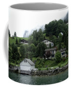 Few Houses On The Slope Of Mountain Next To Lake Lucerne In Switzerland Coffee Mug