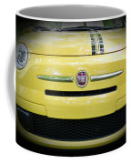 Fiat 500 Yellow With Racing Stripe Coffee Mug