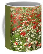 Field Of Daisies And Poppies. Coffee Mug