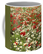 Field Of Poppies And Daisies In Limagne  Auvergne. France Coffee Mug