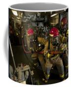 Firemen Combat A Simulated Fire Aboard Coffee Mug