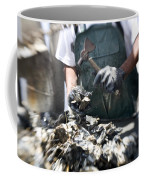 Fisherman Separating Clumps Of Oysters Coffee Mug by Tyrone Turner