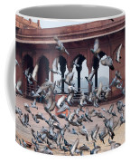 Flight Of Pigeons Inside The Jama Masjid In Delhi Coffee Mug