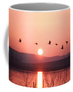 Flock Of Canada Geese Flying Coffee Mug by Ira Block