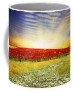 Floral Field On Sunset Coffee Mug by Setsiri Silapasuwanchai
