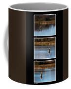 Fly Fishing Triptych Black Background Coffee Mug