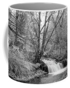 Forest Creek Waterfall In Black And White Coffee Mug