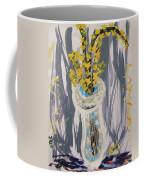 Forsythia In Old Clear Vase Mary Carol Coffee Mug
