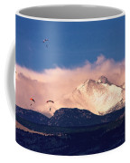 Four Skydivers With Longs Peak And Mount Meeker Rocky Mountain H Coffee Mug