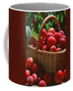 Fresh Red Plums In The Basket Coffee Mug