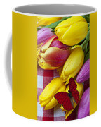 Fresh Tulips And Red Butterfly Coffee Mug