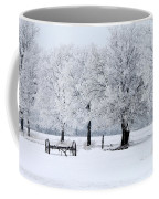 Frosty Morning On Old Wagon Wheels Coffee Mug