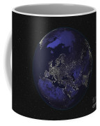 Full Earth At Night Showing City Lights Coffee Mug by Stocktrek Images