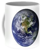 Full Earth Showing North America White Coffee Mug