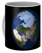 Full Earth Showing The Arctic Region Coffee Mug by Stocktrek Images