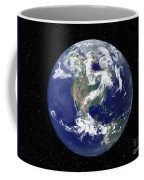 Fully Lit Earth Centered On North Coffee Mug by Stocktrek Images
