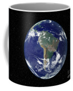 Fully Lit Earth Centered On South Coffee Mug by Stocktrek Images