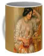 Gabrielle With Jewellery Coffee Mug by Pierre Auguste Renoir