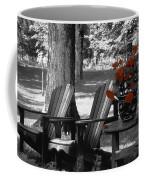 Garden Chairs With Red Flowers In A Pot Coffee Mug