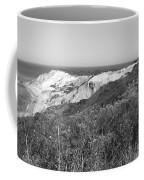 Gay Head Lighthouse With Aquinna Beach Cliffs - Black And White Coffee Mug