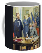 General Ulysses Grant Accepting The Surrender Of General Lee At Appomattox  Coffee Mug by Severino Baraldi