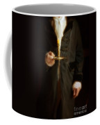 Gentleman In Vintage Clothing Holding A Candlestick Coffee Mug
