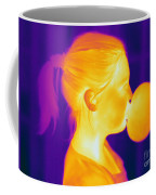 Girl Blowing A Bubble Coffee Mug