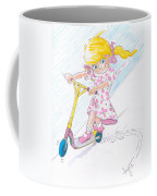 Girl On A Microscooter Cartoon Coffee Mug