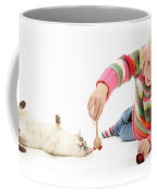 Girl Playing With Cat Coffee Mug