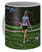 Girl Walking Dog Coffee Mug by Paul Ward
